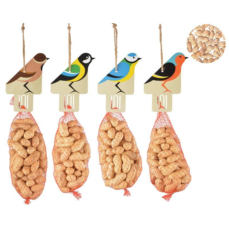 filet cacahuètes avec silhouette oiseau